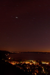 © Joseph Dougherty. All rights reserved.   Star trails over Lake Tahoe and Incline Village, NV.