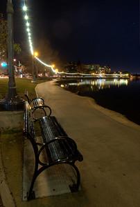 Benches beside the pedestrian walk around Lake Merritt, Oakland.