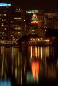 © Joseph Dougherty.  All rights reserved.   Oakland's Tribune tower reflected in Lake Merritt; Alameda County, California.