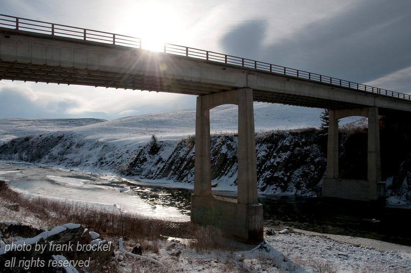 Highway bridge over the Old Man River in Southern Alberta