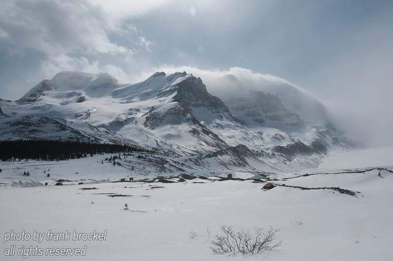The Columbia Icefield is located on the boundary of Banff and Jasper National Parks. One of the largest accumulations of ice and snow south of the Arctic Circle, it covers an area of nearly 325 square kilometres, sometimes reaching a depth of 300-360 metres.