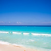 Blue waters and clear skies at Beach Palace, Cancun, Mexico.