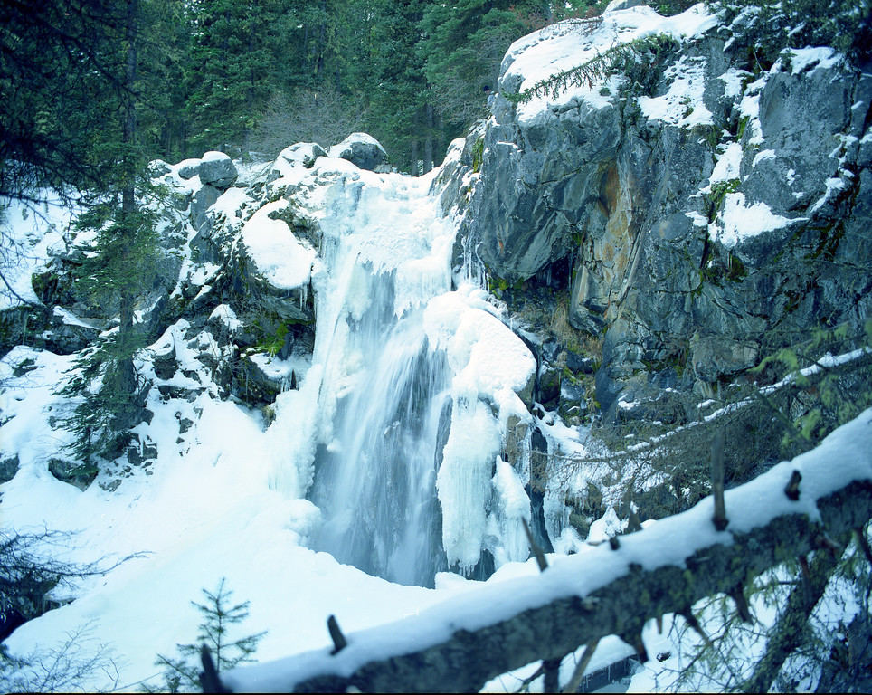 Pioneer Falls in winter.  Lee Metcalf Wilderness, MT<br /> <br /> © Kirk Sagers