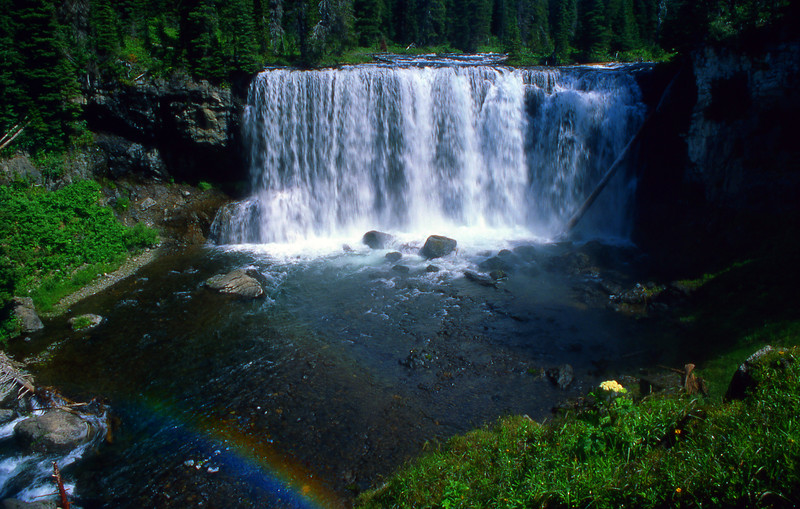 Iris Falls on the Bechler River, with rainbow in the mist.  Yellowstone NP, WY<br /> <br /> © Kirk Sagers