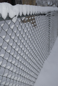 © Joseph Dougherty. All rights reserved.   Snow-coated chainlink fence.