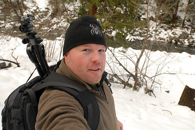 © Joseph Dougherty.  All rights reserved.   Self-portrait while snow-shoeing in the Sierra.