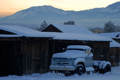 © Joseph Dougherty. All rights reserved.   Old barn and truck under snow, near Mt. Rose, Tahoe.