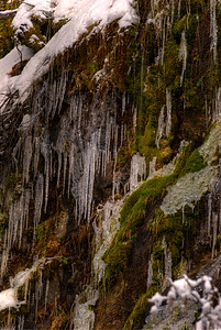 © Joseph W. Dougherty. All rights reserved.  Icicles hang from the cliff face along a waterfall in the Sierra Nevada.