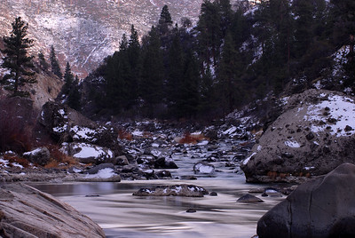 © Joseph Dougherty. All rights reserved.   The Truckee River runs through a shadowy canyon in the eastern Sierra Nevada.