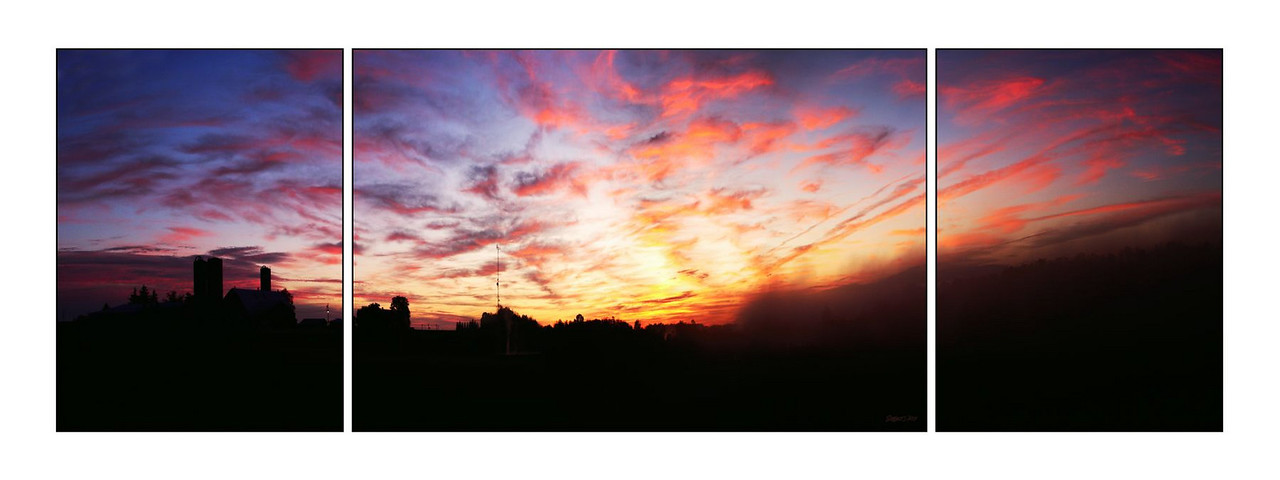 Conestogo Sunrise Triptych<br /> Up to 72 x 24 (18x24, 24x36, 18x24)<br /> or in a single panoramic image