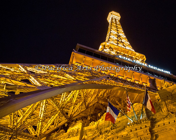 Eiffel Tower (Las Vegas, Nevada style).  This is a scaled down version - about 12 stories tall.  I went to the top of this tower and took the nighttime photo of the Las Vegas strip.