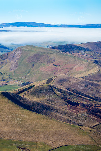 Derbyshire Peak District from the air.