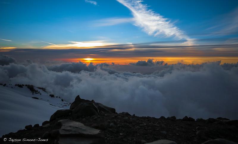 Sunset from high camp....Mt Baker, WA