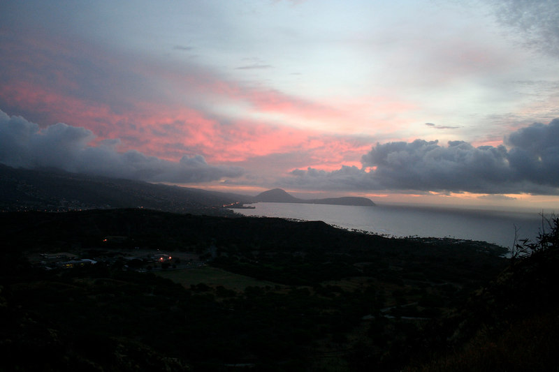 Sunrise from inside the crater at Diamond Head