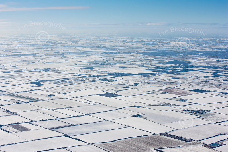 Snow covered Lincolnshire from the air.