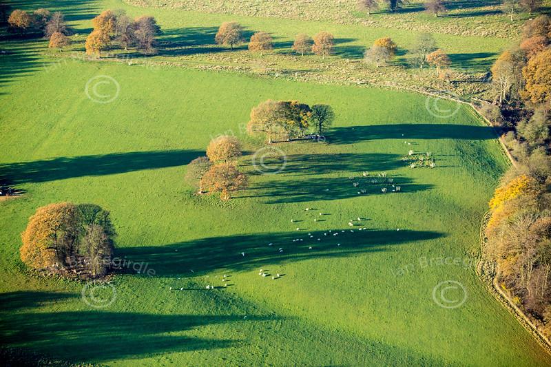 Aerial photo of rural Derbyshire.