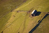 Aerial photo of an old barn.