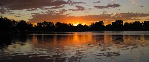 Sunset over Washington Park, Denver, Colorado.
