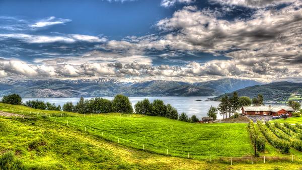 HDR Photo of Hardanger Fjord taken from Børve Farm.