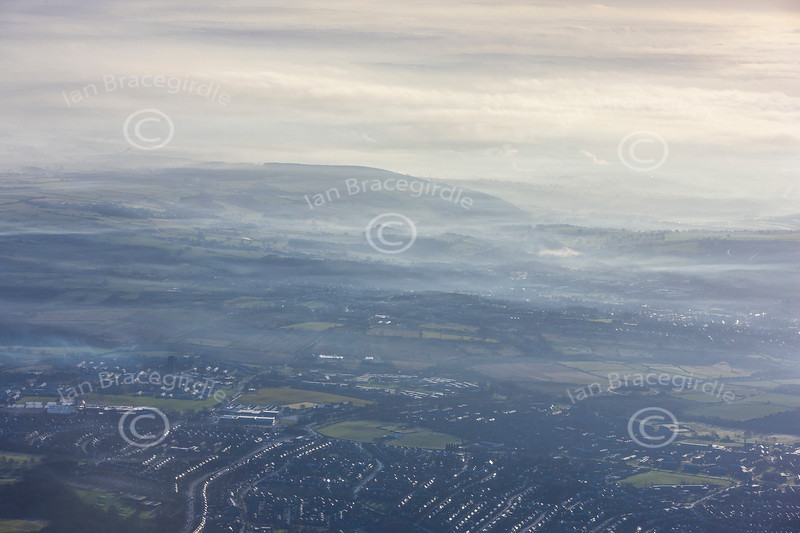 Misty aerial photo.