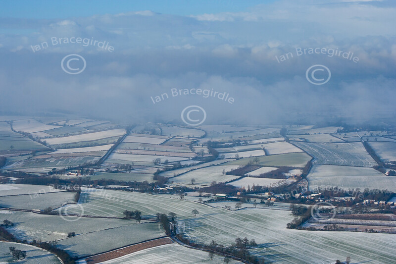 Aerial photo of a Nottinghamshire landscape in the snow.