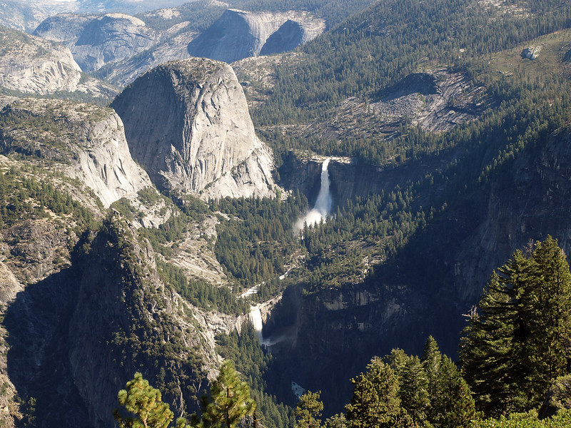 View of Liberty Cap, Nevada and Vernal Falls from Glacier Point - 25 Oct 2010