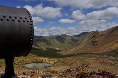A iron, riveted boiler, above Silverton CO, about 12,600 feet, September 2011.
