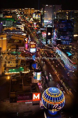 A view of the strip from the faux Eiffel Tower, Las Vegas, Nevada