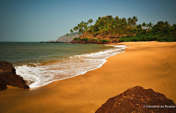 Scenic Cola Beach in Canacona, South Goa, India.