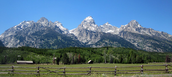 Classic shot of the Tetons on a clear day, Jackson Hole, Wyoming.