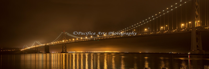 Pano of the San Francisco / Oakland Bay Bridge, taken from SF waterfront.