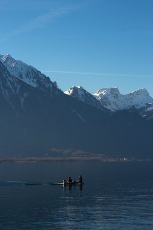 Switzerland, Chillon, Fishing Boat SNM