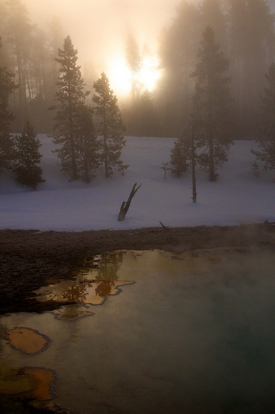 Sunrise over Fountain Paint Pots<br /> Yellowstone National Park, Wyoming, USA