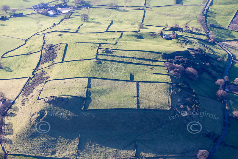 Aerial photo of a Derbyshire landscape.