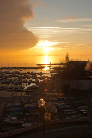 Switzerland, Lausanne, Sunset over Harbour SNM