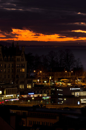 Switzerland, Lausanne, Fiery Sunset SNM