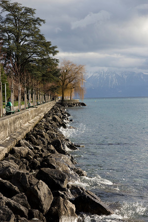 Switzerland, Lausanne, Path Along Lake SNM