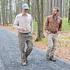 SENTINEL&ENTERPRISE/Ashley Green - Dick O'Brien, a member of the Leominster Trail Stewards, along with Brian Westrick, the Assistant Superintendent of North Central Management Unit of Trustees of Reservation walk through the new trails in Leominster off of Abbott Ave.