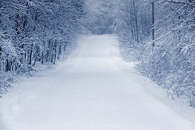 Winter snow storm on a country road