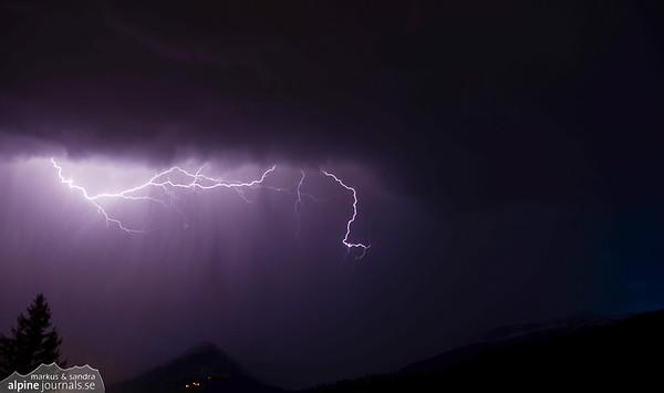 Lightning at night over Kleinwalsertal, Austria