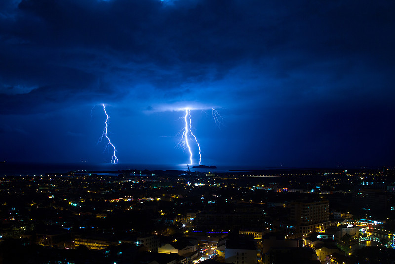 Lightning strikes over Malacca Malaysia