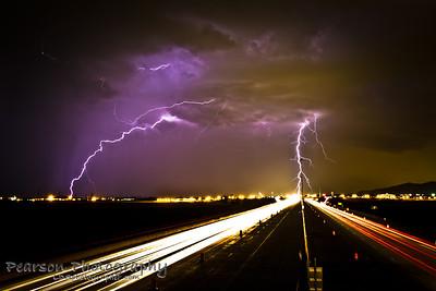 Lightning storm above i15 in pleasant grove, ut
