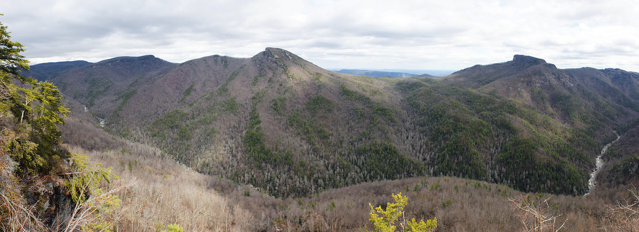 From Wiseman's View - Panorama of Linville Gorge with Hawks Bill Mountain at left and Table Rock at right. Linville River flows the length of the photo. This is in the Blue Ridge Mountains of Avery and Burke County, North Carolina. This is a panorama of 7 photos stitched together using Photoshop CS4.