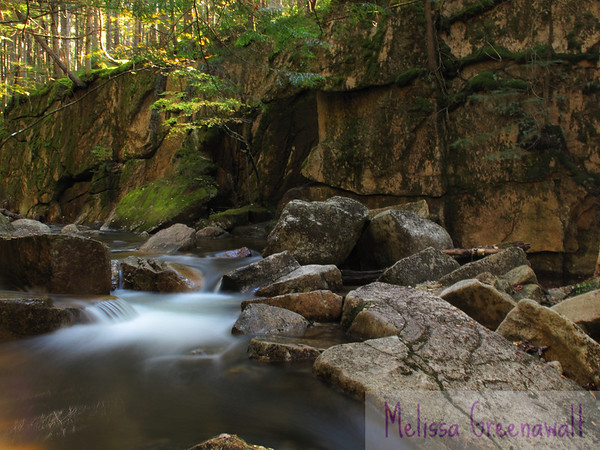 Cascades of water and greenery soften the rockiness of Smarts Brook, Thornton, NH.