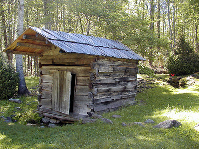 The springhouse is constructed about 20 ft in front of the actual spring. Marked by a red V in the background. This is so the spring will not become fouled by the milk, eggs and other perishable foods stored in the springhouse. Walker Sisters Place GSMNP May 2007