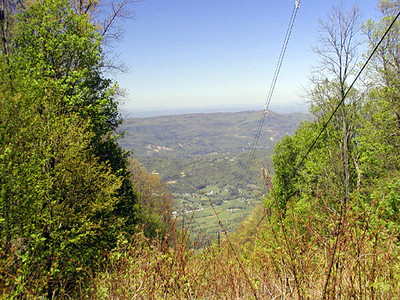 View of Wears Valley through a powerline cut from atop Cove Mountain GSMNP May 2007