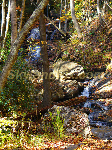 A small multi-tiered waterfall near the upper Crabtree Creek community in Little Switzerland, NC