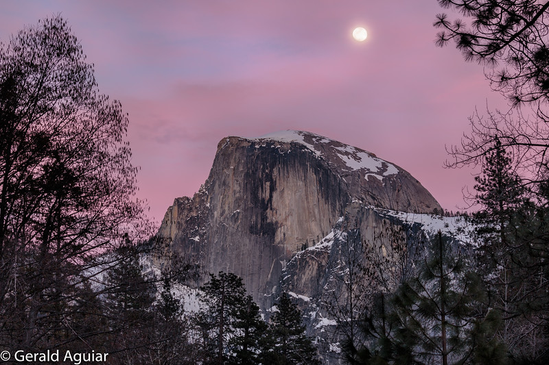Half Dome Full Moon at Dusk