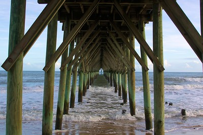 Under pier in Topsail, NC.  20 minutes from our houses.