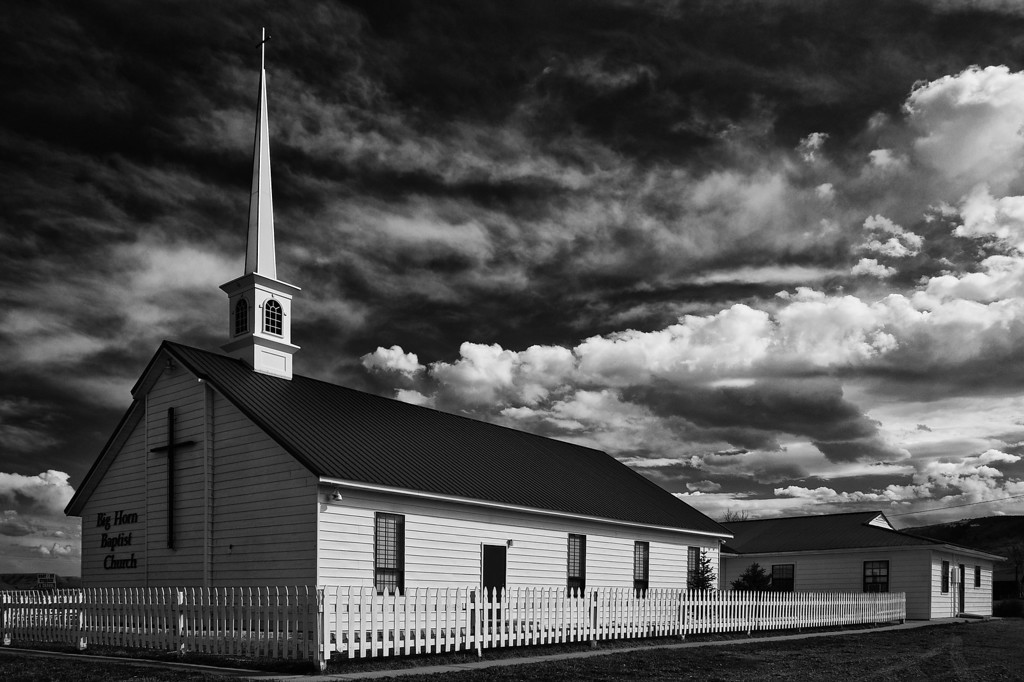 Big Sky Over Church, B&W Version<br /> Big Horn Baptist Church, Fort Smith, MT